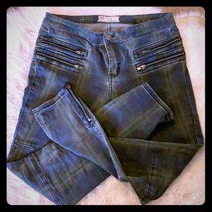 Free People Plaid Skinny Jeans